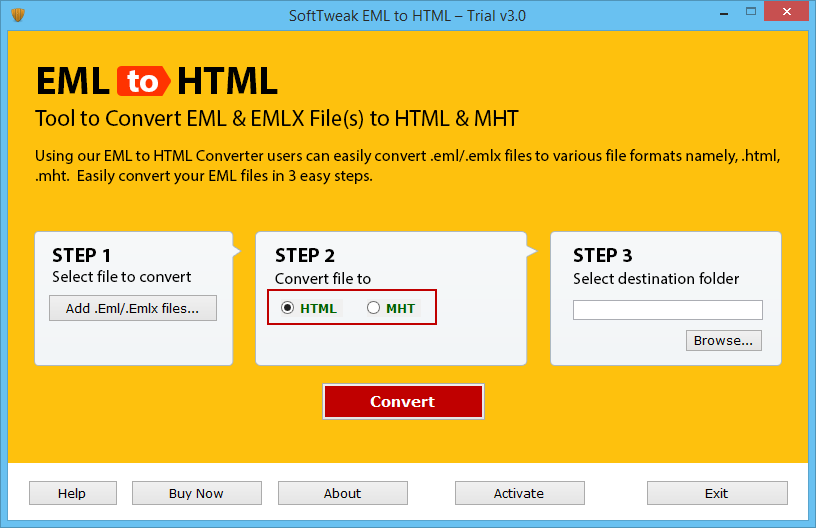 Save EML as HTML / MHT with EML to HTML Converter Tool