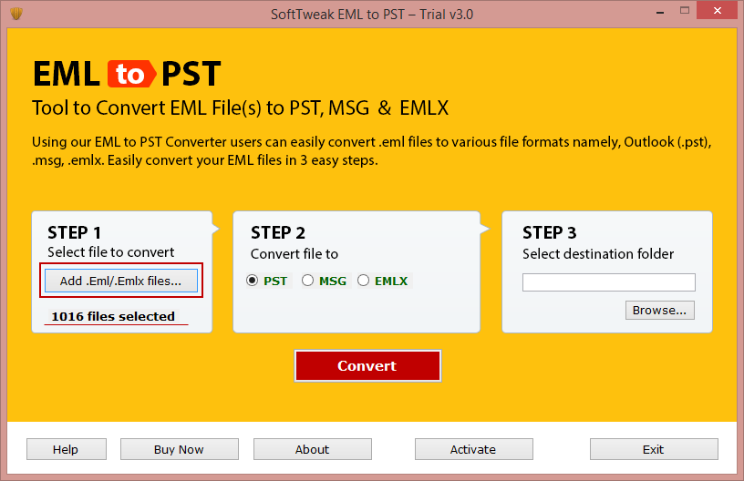 EML to PST Tool full screenshot