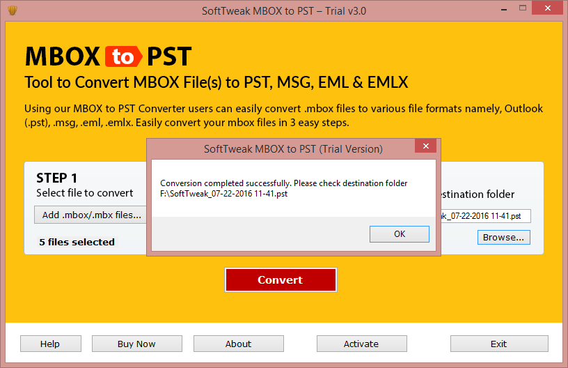 MBOX to PST conversion is Completed