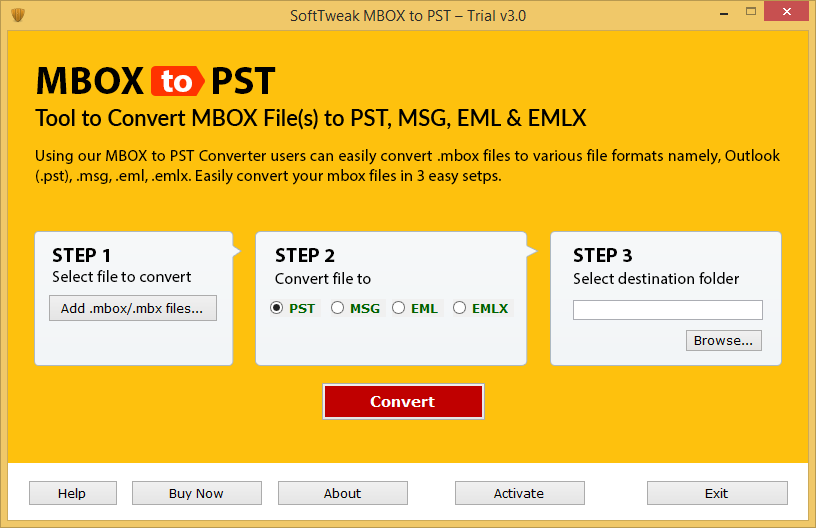 Launch MBOX to PST Software