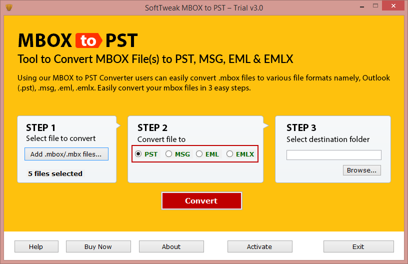 Select format to save MBOX data