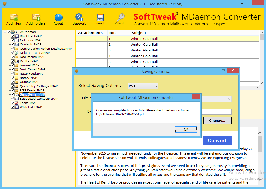 MDaemon to PST conversion is Completed