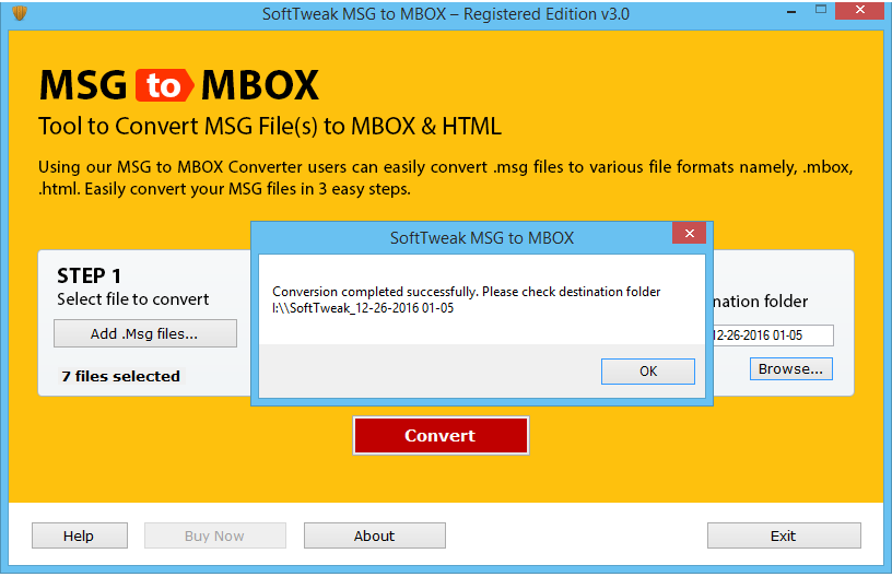 MSG to MBOX conversion is Completed