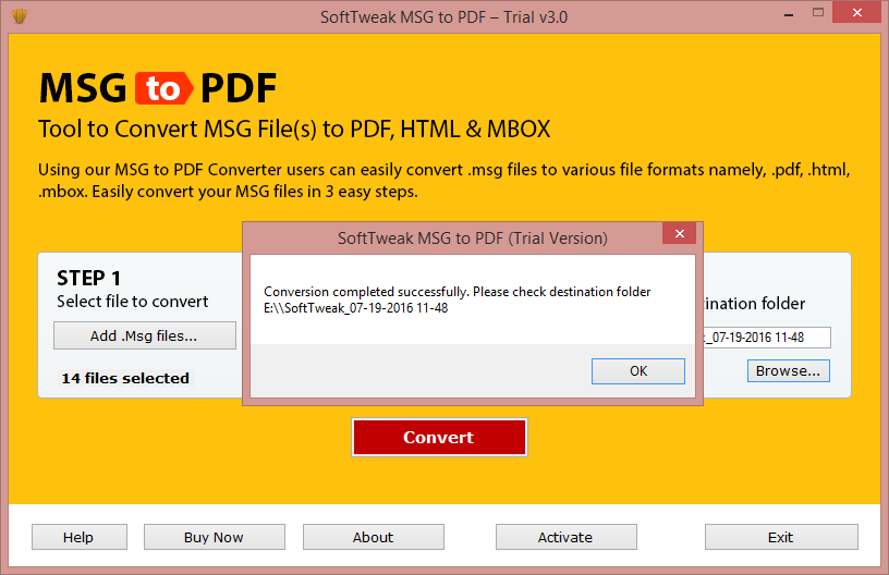 MSG to PDF conversion is Completed