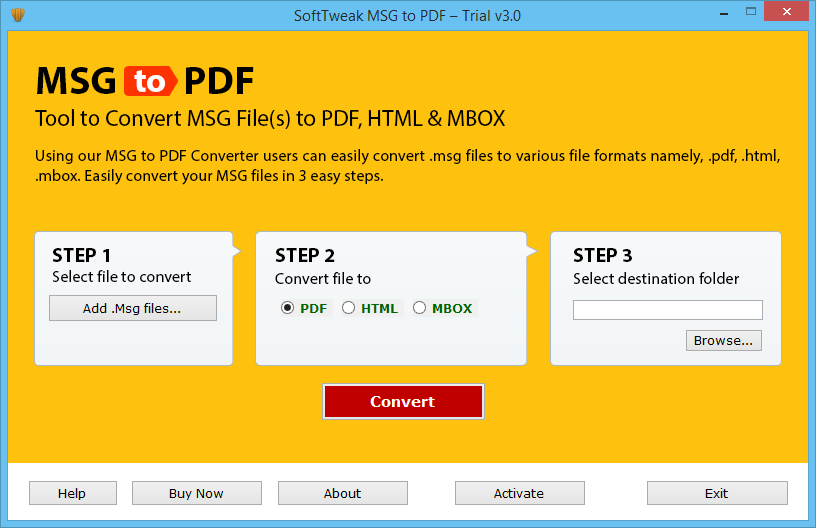 Launch MSG to PDF Software