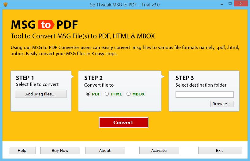 SoftTweak MSG to PDF full screenshot