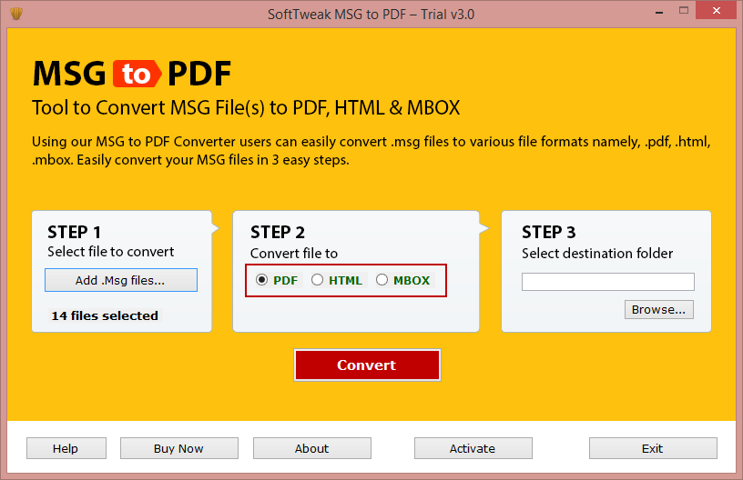 Select format to save MSG files data