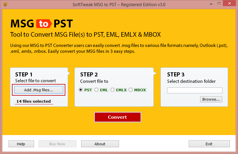 Launch MSG to PST Software
