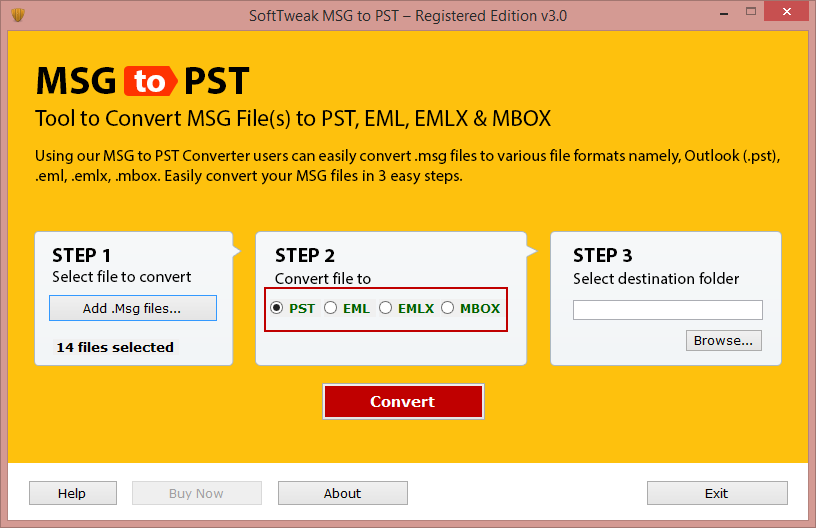 Select format to save MSG data
