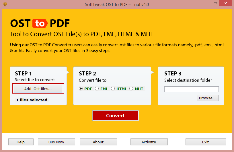 Launch OST to PDF Software