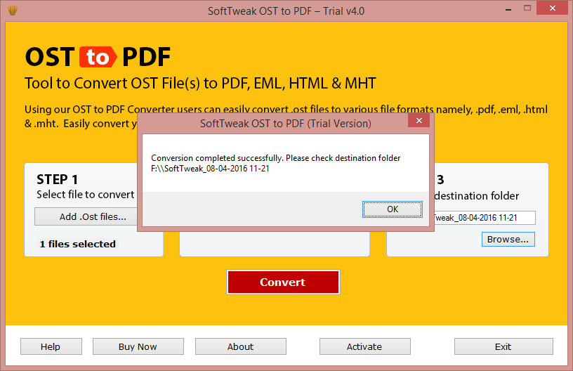 OST to Adobe PDF conversion is Completed