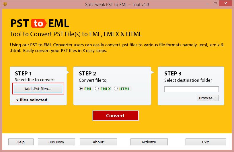 SoftTweak PST to EML full screenshot