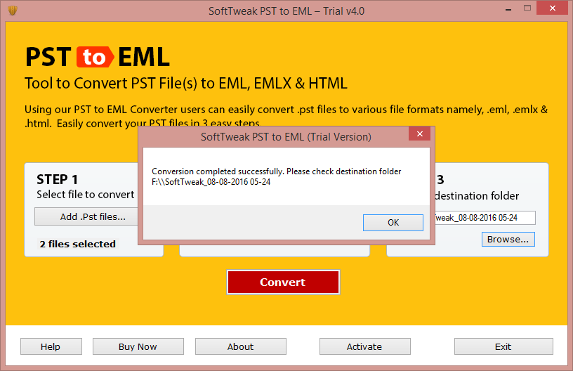 PST to EML conversion is Completed
