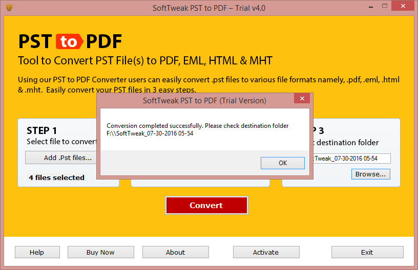 PST to PDF conversion is Completed