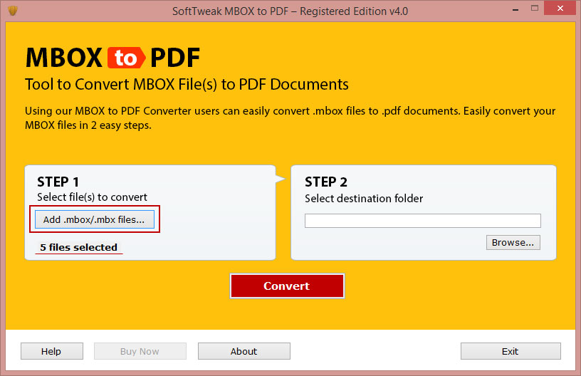Error-Free MBOX to PDF Tool by SoftTweak Inc