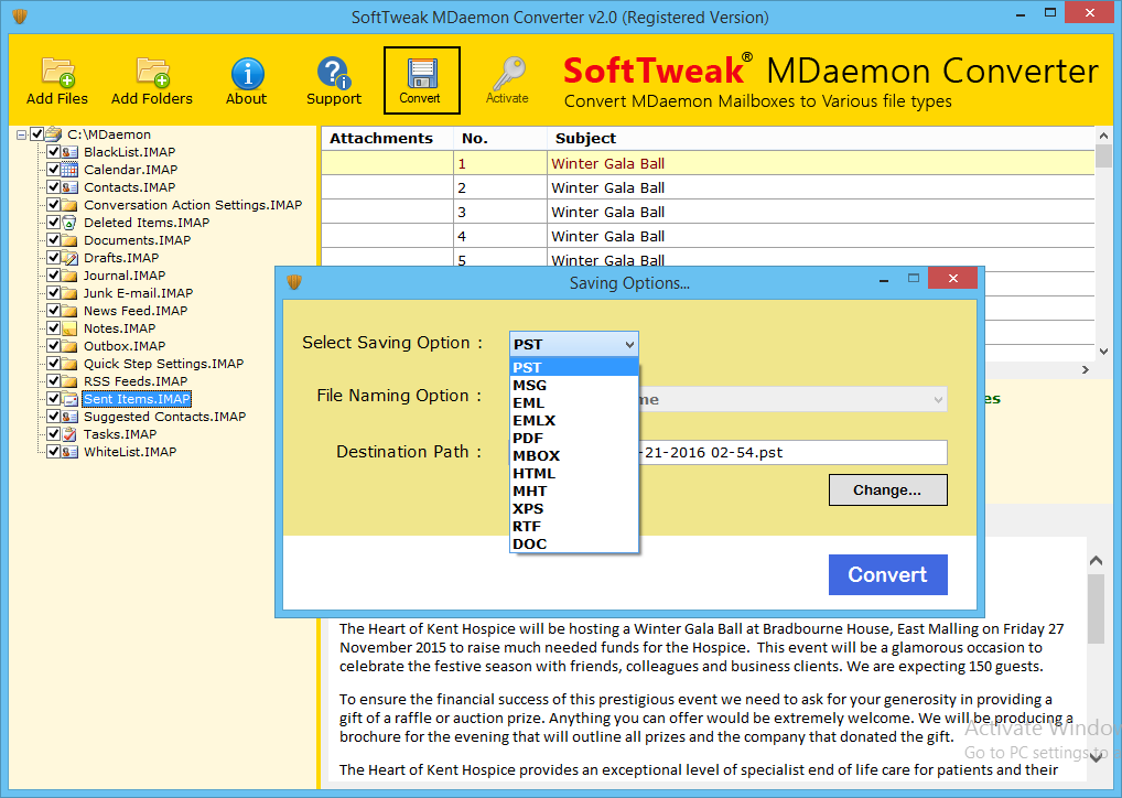 SoftTweak MDaemon Converter full screenshot